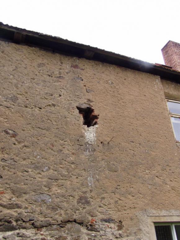 Hnízdo poštolek ve zdi mlýna